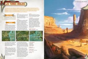 Maquette de la double page qui présente les peuples des Terres Brûlées