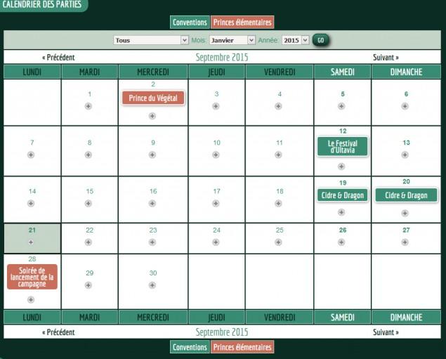 2 - Dans le calendrier, enregistrez la date à laquelle vous ferez jouer votre scénario et la boutique dans laquelle la partie aura lieu.